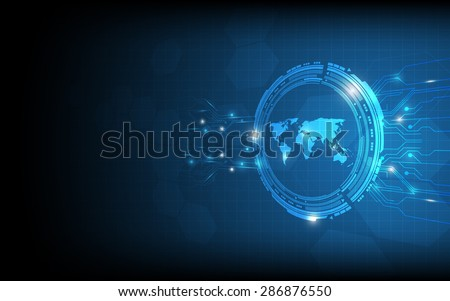 vector abstract world map digital concept background - stock vector