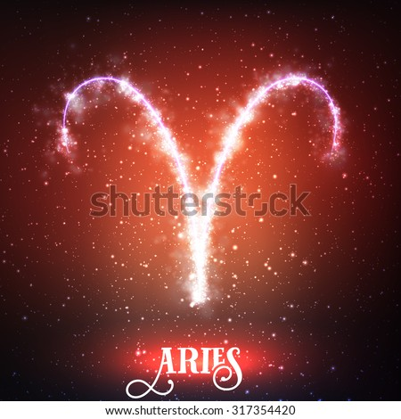 Vector abstract zodiac sign Aries on a dark red background of the space with shining stars. Nebula in form of zodiac sign Aries. Abstract glowing zodiac sign Aries, The Ram (greek: Krios) - stock vector