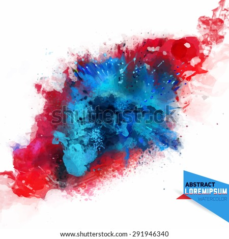 Vector abstraction from a mixture of colors, explosion, color spray, fly away, stains with a spray of water colors,the author's work.Background for banner, poster, identity,card, web design. - stock vector