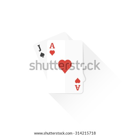 vector ace of hearts and jack of spades playing cards flat design colored isolated illustration on white background with shadow - stock vector