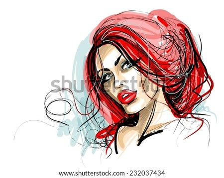 VECTOR ?ackground with a portrait of the beautiful young girl - stock vector
