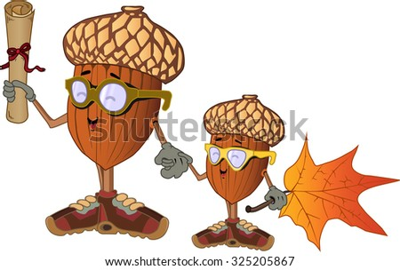 vector acorn with his son