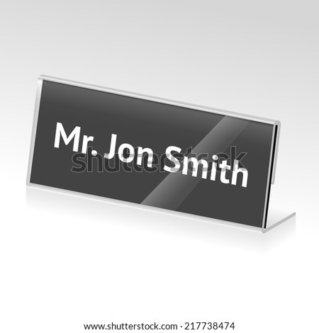vector acrylic card holder for events with name - stock vector