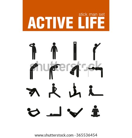 vector active warm-up exercises stick man set - stock vector