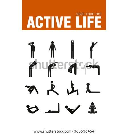 vector active warm-up exercises stick man set - stock vector