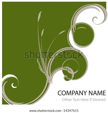 Vector ad page layout or report cover background featuring abstract ocean waves and cattails. - stock vector