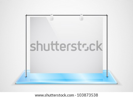 Vector ad screen hanging on metal frame standing on glass foundation - stock vector