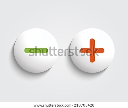 Vector add, cancel, or the plus and minus signs on buttons or circles icon isolated on white background - stock vector