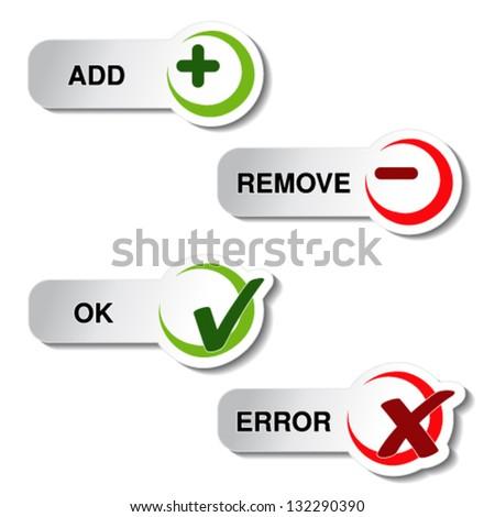 Vector add remove and ok error item - button - stock vector