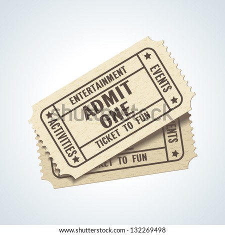 Vector Admit One ticket icon isolated - stock vector
