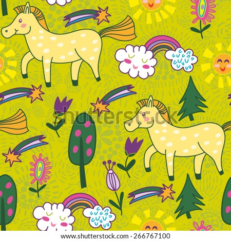 Vector adorable spring pattern of horses.  - stock vector