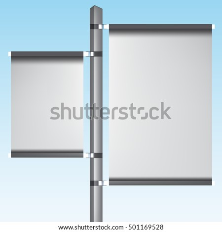VECTOR ADS: Silver post POS POI Outdoor 3D Vertical Advertising banners on Isolated background. Mock-up template ready for design.