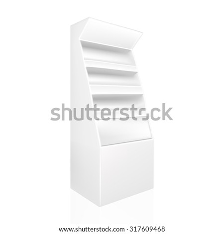 VECTOR ADS: White gray POS POI Outdoor/Indoor 3D Advertising Display on Isolated white background. Mock-up template ready for design. - stock vector