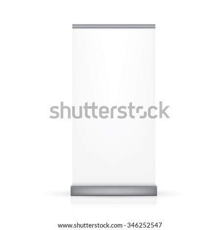 VECTOR ADS: White gray single thin blank roll up banner on isolated white background. Mock-up template ready for design.