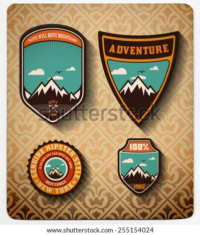 vector. Adventure badge set.All items in layers - stock vector