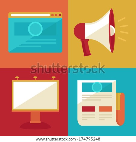 Vector advertising and promotion concepts and icons in flat retro style - stock vector