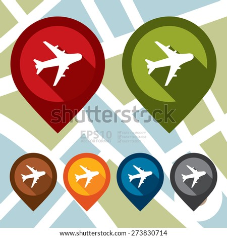 Vector : Aeroplane, Airplane, Airport, Landing Field, or Logistic Map Pointer Icon - stock vector
