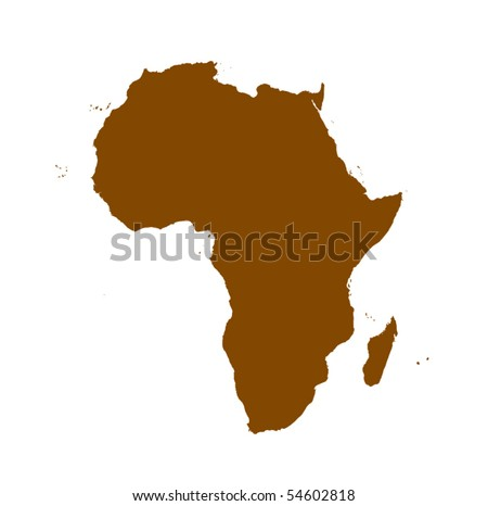 vector Africa detailed map silhouette - stock vector