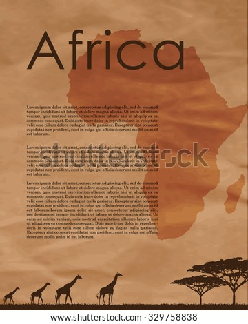 Vector africa map.  Abstract map of Africa in vector format on a background of crumpled old paper. African animals silhouettes in sunset design template.  African border and country name. - stock vector