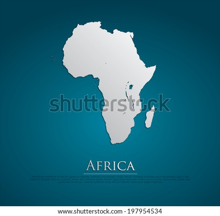 vector Africa Map card paper on blue background, high detailed