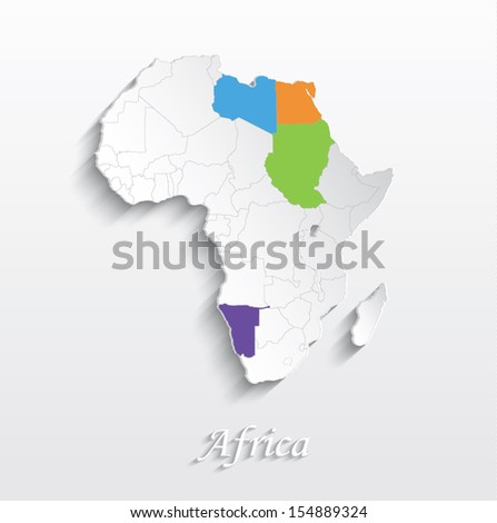 vector Africa map card white paper 3D individual states puzzle - stock vector