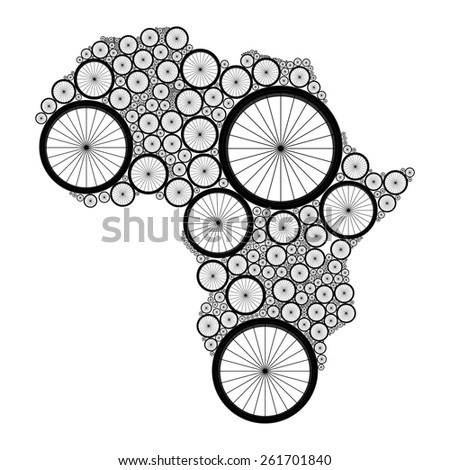 Vector Africa map made of bicycle wheels. Elements of this image furnished by NASA - stock vector