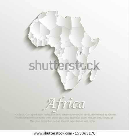 vector Africa political map natural paper 3D craked individual states - stock vector