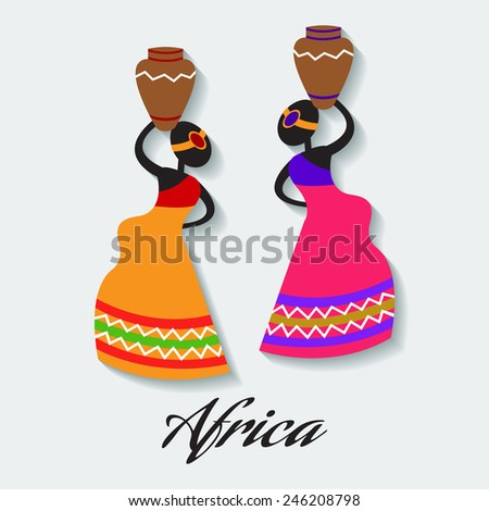 Vector africa woman - stock vector