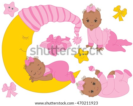 Vector African American baby girl set in pink color with rattle, stars, bows and the moon