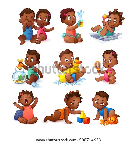 African American Cute Cartoon Stock Images Royalty Free