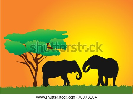 vector african background with elephants - stock vector