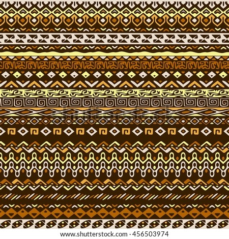 Vector african style pattern with tribal motifs. Natural and elegant ornament with geometric hand drawn decorative stripes for prints, fabrics, backgrounds in brown, ochre and yellow colors - stock vector