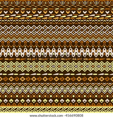 Vector african style pattern with tribal motifs. Natural and elegant ornament with geometric hand drawn decorative stripes for prints, fabrics, backgrounds in brown, ochre and yellow colors