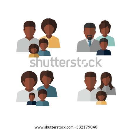 Vector Afro American Family Icons  - stock vector