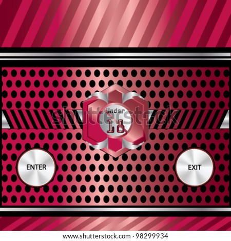 Vector 18+ age limit background with buttons