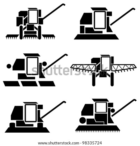 vector agricultural vehicles harvesting combine silhouettes set - stock vector