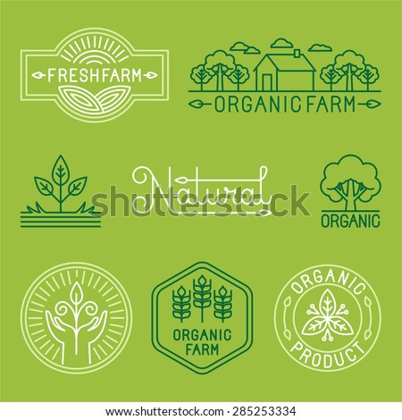 Vector agriculture and organic farm line logos - set of design elements and badges for food industry - stock vector