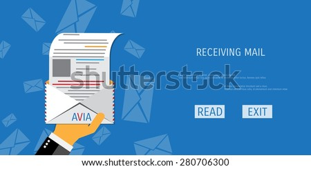 Vector air mail service web flat background. Global communication. Social network. Concepts for web banners and promotional materials. - stock vector