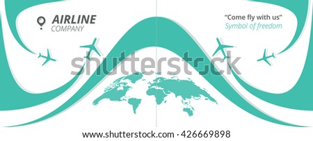 Vector Airline Company brochure with planes and airplane stream jets. Modern poster with turquoise airplanes and world map. Can be used for travel agencies, aviation companies. Airline banner. - stock vector