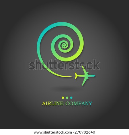 Vector airline logotype. Aircraft brochure with  swirled whirlwind of airplane. For travel agencies and aviation companies. - stock vector