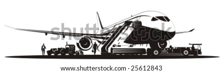Vector airplane at runway. More vector aircrafts see in my portfolio. - stock vector