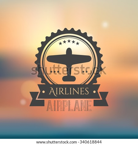 Vector airplane emblem. Isolated aircraft  retro template. Mesh background.  - stock vector
