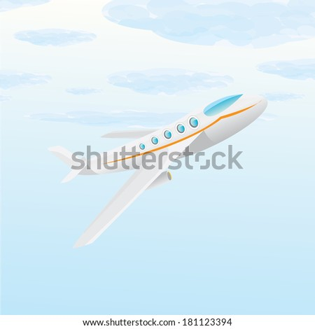vector airplane icon. airplane fly in blue cloud sky - stock vector