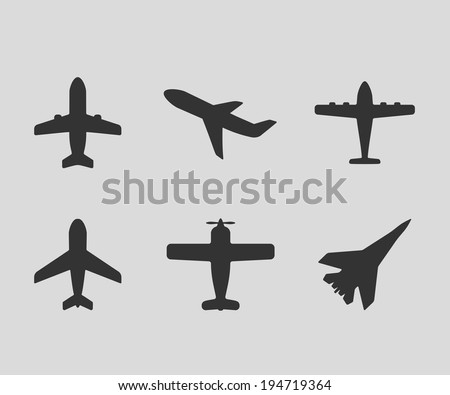vector airplane icons: passenger plane, fighter plane and screw - stock vector