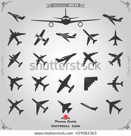 Vector airplane icons: passenger plane, fighter plane and screw