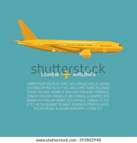 Vector airplane illustration in flat style. Isolated plane. Flying vector civil plane. Cargo plane icon. Aviation poster with civil commercial air plane. Vector design concept. Vector isolated plane. - stock vector