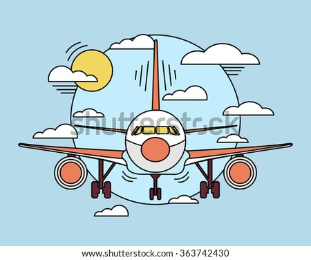 Vector airplane line illustration - stock vector