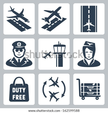 Vector airport icons set: landing, takeoff, runway, pilot, airfield control tower,  stewardess, shopping bag 'duty free', transfer, luggage cart - stock vector