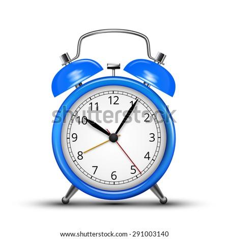 Vector Alarm Clock Classic Blue Colored Design. Vector illustration - stock vector