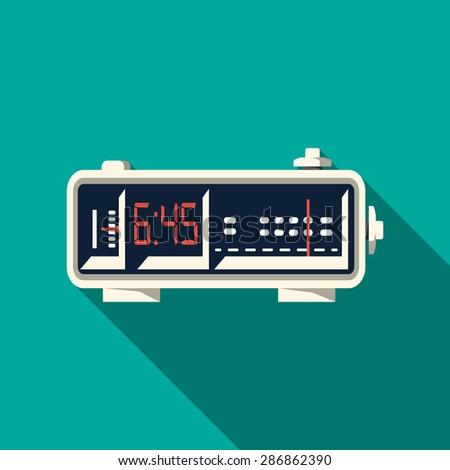 Vector Alarm Radio Clock - stock vector